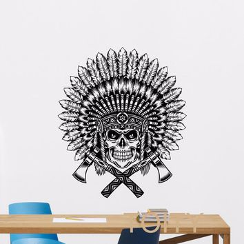 Native American Wall Sticker Feather Indian Chief  Skull With Axes Vinyl Decal Home Interior Living Room Decor Retro Art Mural