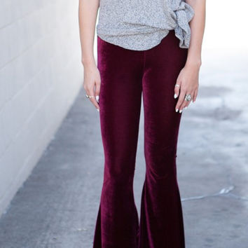 Lucky Duck Burgundy Velvet Bell Bottom Lounge Pants - FINAL SALE