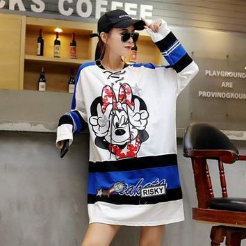 Girls Student Kawaii Cartoon Mouse Print Sequins Pullovrs Color Block Long Sleeve Tee Shirt Larg Size Casual Loose Autumn Tops