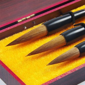 3pcs/set hot selling Chinese calligraphy brushes pen for weasel Hair ink brush pen student office calligraphy pen gift box set