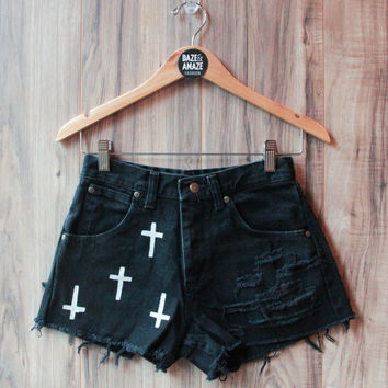 Cross Denim Shorts Hand Painted Vintage Distressed High Waisted Denim Trend Gothic