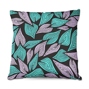 Leaves Art Throw Pillow in Turquoise and Lavender – 3 Sizes Available