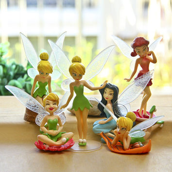 6pcs Set Halloween Kids Gift Tinkerbell Dolls Flying Flower Fairy Children Animation Educational Cartoon Toys BabyToy