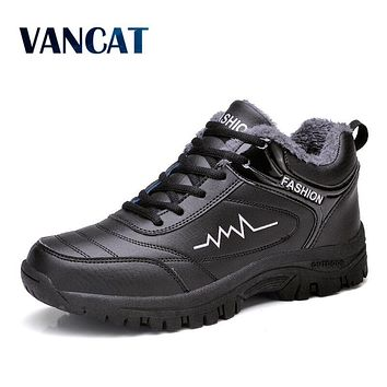 VANCAT Super Warm Men's Winter Ankle Boots Waterproof Rubber Men Snow Boots Leisure Plush Boots Winter Shoes size 39-44