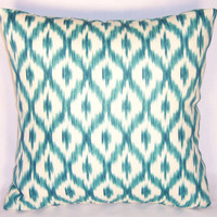 Turquoise Ikat Throw Pillow Waverly Dedra Peacock Blue Diamond Dot 100% Linen Williamsburg Ready to Ship Cover and Insert
