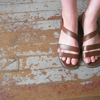 Brown Leather Sandals 7 by GibsonGirlVintage on Etsy