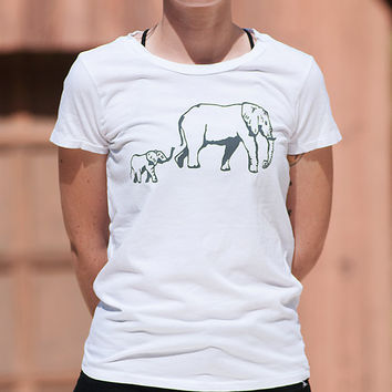 me and mama Elephant Tshirt, Comfy Tee, White Tshirt, S,M,L,XL