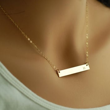 14kt Gold BAR Necklace Engraved Name Initial | Celebrity Style Gold Name Bar Necklace | 14Kt Gold Fill Sterling Silver
