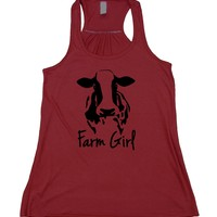Farm Girl Tank Top Farmer Ranch Cow Country Flowy Racerback Tank
