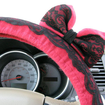 The Original Scarlet & Black Lace Steering Wheel Cover with Matching Bow