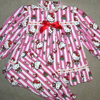 Girls Christmas pajamas , pink Hello Kitty , ruffle , Christmas photo , toddler flannel pajamas , red satin ribbon , ready to ship in size 4