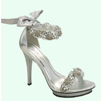 Silver Satin Beaded Ankle Strap Sandal Heels - 6 to 10 - Unique Vintage - Bridesmaid & Wedding Dresses