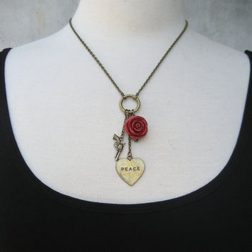 War And Peace Necklace  Charm Necklace  Brass  Heart  by PieceLust