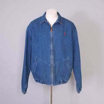 Vintage 90s POLO Jacket / 1990s RALPH LAUREN Men's Blue Denim Chin Strap Zip Up Jacket