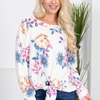 Floral White Knot Top