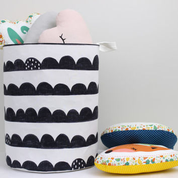 Large Laundry Hamper, Laundry Basket, Toy Storage, Nursery Fabric Basket, Storage Bin, Toy Basket, Nursery Storage, Black And White Decor