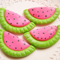 Polymer Clay Hair Bow Centers, Beads, Buttons, Charms, Chunky Pedants - Summer Pink Watermelon - 4pcs