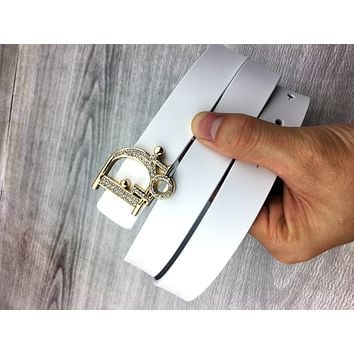 Dior Women's Vintage Diamond Classic Letter Smooth Buckle Belt white
