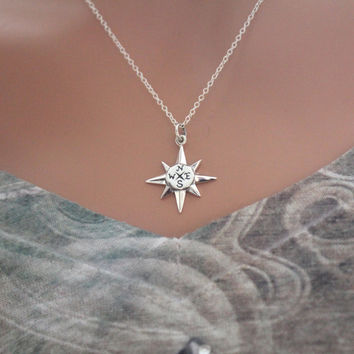North Star Compass Charm Necklace