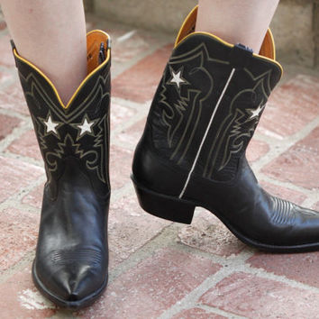 RARE Vintage 90s Western // Stallion Boot Co Cowboy Boots // Star Cutout // Black Mid Calf // Black White Yellow // Women's US Size 9