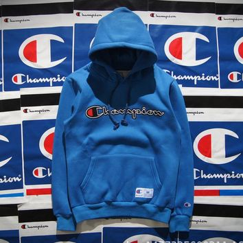Champion Hooded men and women who dress thickening couple costume Blue