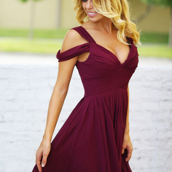Winter Wine Off Shoulder Short Dress