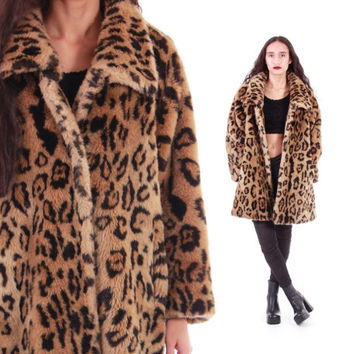 90s Leopard Faux Fur Coat BEAUTIFUL Union Made Oversized Thick Plush Glamorous Vintage Winter Outerwear Womens Size Large XL