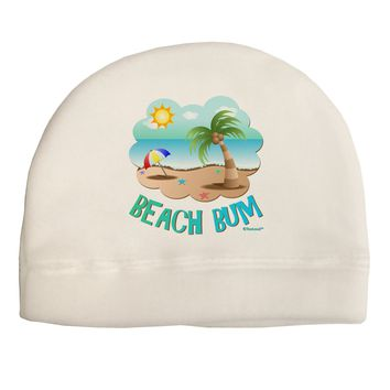 Fun Summer Beach Scene - Beach Bum Child Fleece Beanie Cap Hat by TooLoud