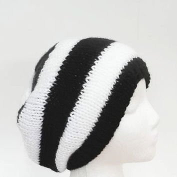Knit beanie black white stripes handmade for men or women  - free shipping   5221