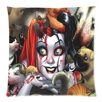 Decorative Fashion Custom American Superhero Comics Harley Quinn&Batman The Joker's Favor Lover Throw Pillow Case Best Gift 18X18 Inch 2 Sides Printed (50% cotton, 50% polyester) = 1927837828