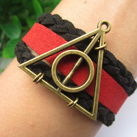Harry potter spring--Deathly Hallows charm bracelet, antique bronze pendant,black braid leather bracelet,red leather strap,christmas gift