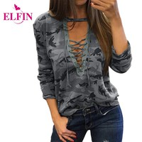 Women Causal T-Shirt Camouflage V Neck Long Sleeve Tee Tops Lace Up Loose Bandege Tee Shirt Plus Size LJ5888R