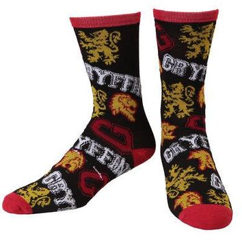 Harry Potter House Gryffindor Lion Toss Adult Crew Socks - Black