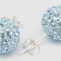 DISCO BALL shamballa stud earrings - 6mm - Swarovski crystal & Sterling silver