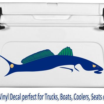 Redfish Car Decal Stickers in Navy Blue Green & Gold Colors
