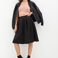 FOREVER 21 Quilted Circle Skirt Black