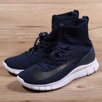 Nike Free Flyknit Mercurial Superfly Navy White Running Shoes - Best Deal Online