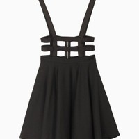 Cut Out High-waisted Black Skirt With Shoulder-straps | Choies
