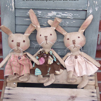 Primitive Doll Pattern, Primitive Grungy Bunnies pattern, Easter bunny pattern, HFTH191