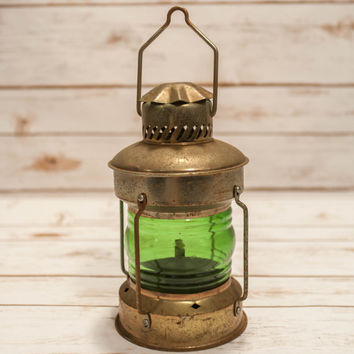 Vintage Brass Lantern Green Glass Metal Hanging Lantern, Rustic Wedding, Vintage Lighting, Railroad Style, Home Decor