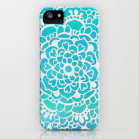 Aqua Turquoise Sparkle - Doodle pattern with aqua galaxy / sparkle  iPhone & iPod Case by Tangerine-Tane