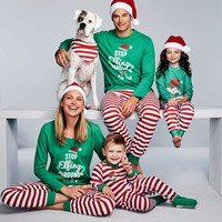 Family clothes christmas family pijamas matching family outfits father mother son daughter baby pajamas set drop shipping
