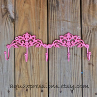 Pink Wall Hook Rack Jewelry/ Key Holder/ Bath Towels Laundry /Mud Room Accessory/ Organizer/ Bathroom/ Bedroom/ Living Room/ Cast Iron