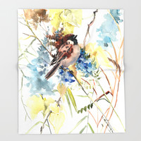 Sparrow in the Field Throw Blanket by sureart