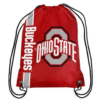 Ohio State Buckeyes Drawstring Backpack Customize Bags NCAA 35x45cm Sports Team,free shipping