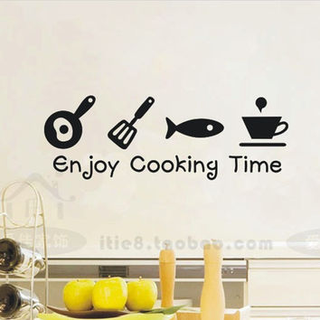 Enjoy Cooking Time creative tile waterproof wall stickers 8003 glass cabinets kitchen decor wall art decal