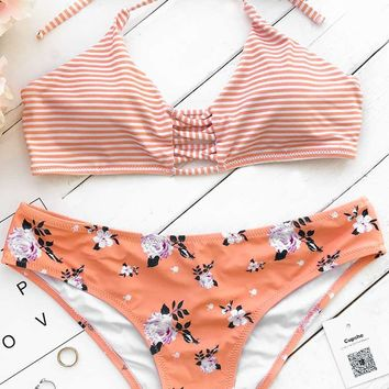 Cupshe Orange Fanta Halter Bikini Set