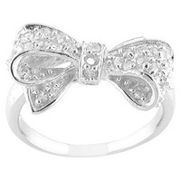 Cubic Zirconia Silver Plated Bow Ring