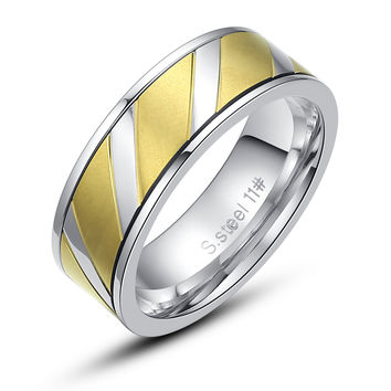 Stainless Steel Parallelogram Pattern Ring