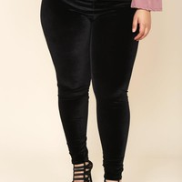 Plus Size High Waist Velvet Leggings Bottoms+ GS-LOVE